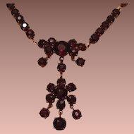 SALE: Garnet Flower Lavalier Necklace Mid Century.
