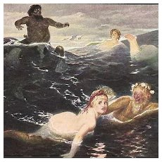 Rare German Issue Mermaid Postcard 'Playing in the Waves'.