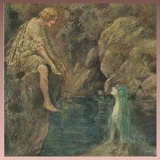 Russian Signed Mermaid Postcard 1915 'The Fairytale'.