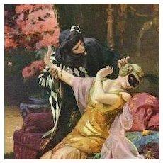 SALE: French Chromolithographic Artist Postcard 'Under the Mask' Salon de Paris.