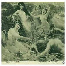 SALE: Rare Monochrome Russian Issue 'Sirens of the Sea' Art Postcard 1913.