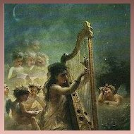Russian Artist Girl with Harp and Cherubs 'Music' Postcard