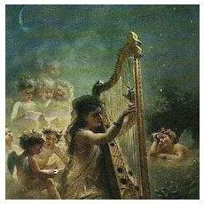 Russian Artist Girl with Harp and Cherubs 'Music' Postcard