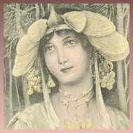 French Art Nouveau Postcard Signed Fernand Toussaint 1903