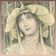 French Art Nouveau Postcard Signed Fernand Toussaint 1903