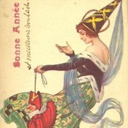 SALE: Italian Artist Medieval Maiden and Jester New Year Postcard 1918. Unique