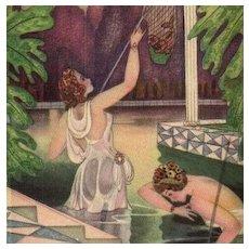 Maidens in a Pond Fishing Art Deco German Postcard c1920