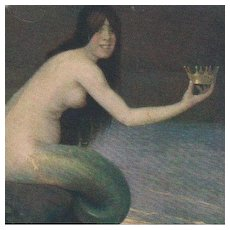 Rare Russian Mermaid with Crown Postcard c1900.