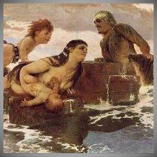 German Artist Signed Mermaid in the Sea  Postcard