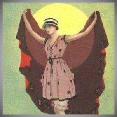SALE: Italian Art Deco 'Flapper in a Swimsuit' Postcard 1922