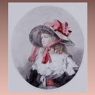 SALE:Charming 18th Century Hand Colored English Engraving 'Louisa' 1786