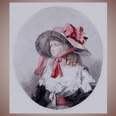 18th Century Hand Colored English Engraving 'Louisa' 1786 Charming