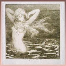 SALE: Original French Etching and Dry Point 'Sirene de Paris' 1908.