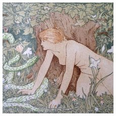 Antique Art Nouveau Print 'Eve and the Serpent' from Studio Magazine 1896 John Dickson Batten