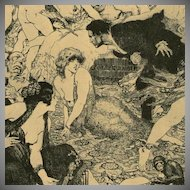 SALE: Vintage Bookplate 'Recognition' 1977 by Norman Lindsay