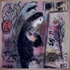 Marc Chagall Self Portrait Color French Lithograph 'L'Inspire' 1963. Unsigned.