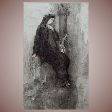 SALE: French Etching 'Sappho' by Charles Courtry after Gustave Moreau  1897.