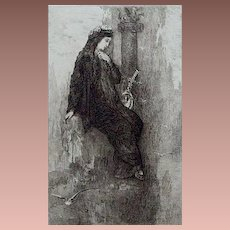SALE: Original French Etching 'Sappho' by Charles Courtry after Gustave Moreau  1897.