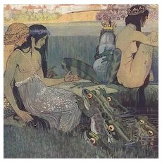 German Art Nouveau Signed Mermaids and Frogs Postcard c1900..very Rare
