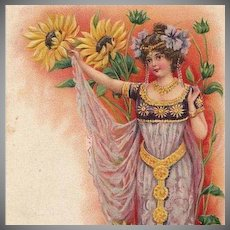 SALE: Art Nouveau Swiss Bonne Annee New Year Young Woman with Gold Belt Postcard 1903