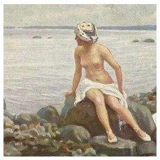 German Art Deco Artist Postcard 'Surf Bathing' c1918
