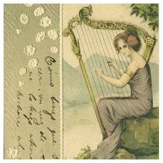 Spanish Art Nouveau Woman and Harp Embossed Postcard 1902.