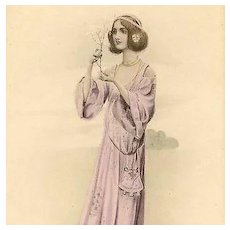 Vienne Maiden with Blossom #1 Postcard c1900 Art Nouveau era.