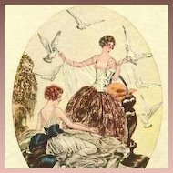 'Ladies with Doves' Italian Boudoir Postcard c1927 Art Deco. Signed.