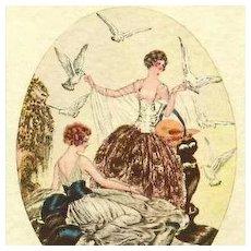 'Ladies with Doves' Italian Boudoir Postcard c1927 Art Deco. Signed.
