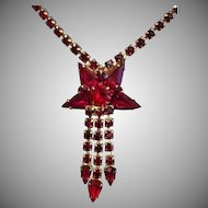 Bold Red Faceted Glass Star and Gold tone Lavalier Necklace c1970