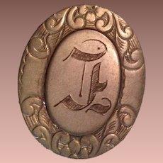 Late Victorian Gold Fill Filigree Monogram Large Hatpin