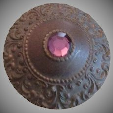 Pressed brass and Pink Glass Shield Long Hatpin..Art Nouveau era.