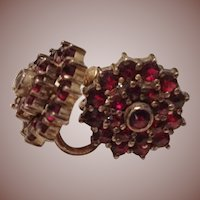 Edwardian Garnet Earrings c 1905 Screw Back