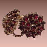 Edwardian Screw Back Garnet Earrings c 1905