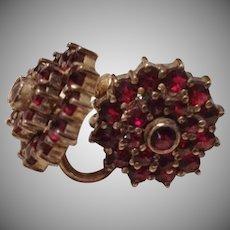 SALE: Edwardian Screw Back Garnet Earrings c 1905