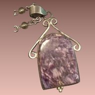 Mottled Purple Agate and Sterling Pendant on Long Bead and Link Chain.