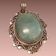 Filigree Sterling and Aqua/Green Stone Pendant.