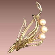 Vintage Gold-wash Faux Pearl Brooch Pin