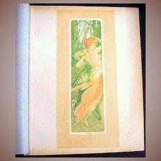 Signed Original French Lithograph 'Renouveau' L'Estampe Moderne Art Nouveau 1897.