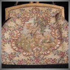 SALE:  French Tapestry Cupids Evening Purse/Bag. Art Deco era.