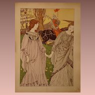 SALE: French L'Estampe Moderne Original Lithograph 'Le Passant' 1898 Signed by Engels