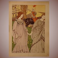 French Signed L'Estampe Moderne Original Lithograph 'Le Passant' 1898 by Engels