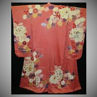 SALE: Rose Pink Hand Painted Floral Silk/Satin Furisode with Gold Embroidery.