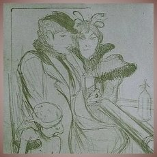 French Toulouse-Lautrec Lithograph~Limited Edition 1927 Sheet Music Cover