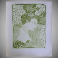 SIGNED Toulouse-Lautrec Lithograph ~Portrait of Marcelle Lender~Limited Edition 1927