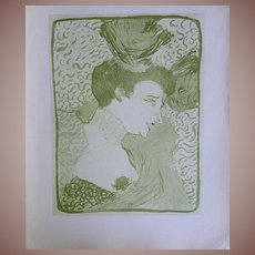 French SIGNED Toulouse-Lautrec Lithograph ~Portrait of Marcelle Lender~Limited Edition 1927