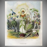 SALE: Grandville Engraving 'Erratum' 1847 from Les Fleurs Animees.