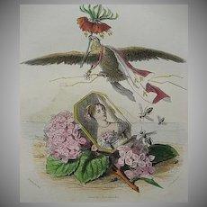 SALE:  Grandville Engraving 'Hortensia Couronne Imperiale' 1867 for Les Fleurs Animees.