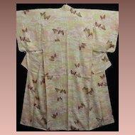 Butterfly Decorated Hand Painted Art Deco Peach/Cream Silk Kimono.