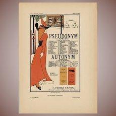 SALE: Beardsley Antique French Lithograph 1897 Pseudonym Autonym Libraries
